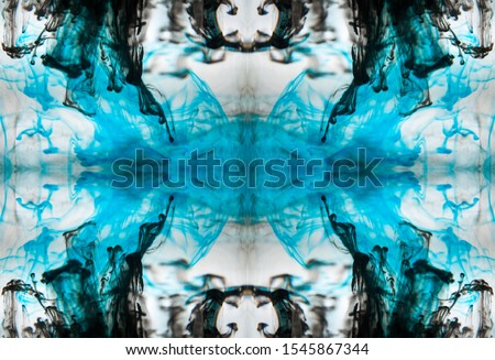 Blurred abstract background. Colorful inks in the water. Splash paint mixing. Watercolor effects. Ink pattern in Rorschach test style.  #1545867344
