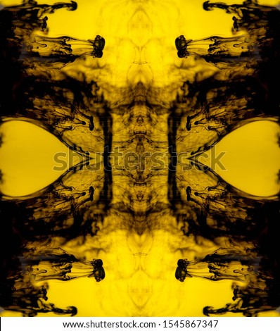 Blurred abstract background. Colorful inks in the water. Splash paint mixing. Watercolor effects. Ink pattern in Rorschach test style.  #1545867347