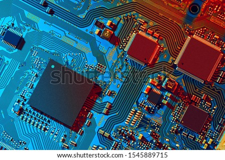 Electronic circuit board close up.  #1545889715