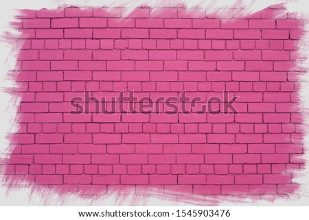 Pink brick wall with jagged frame. #1545903476