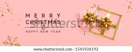 Holiday banner Merry Christmas and Happy New Year. Xmas design with realistic festive objects, realistic gift, 3d hollow gift-shaped cube, snowflake, glitter gold confetti. Festive Horizontal poster #1545926192