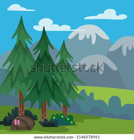 illustration of a beautiful mountain hill background design and blue sky with clouds, grass foreground with pine trees and gorgeous flowers - EPS Vector #1546078961