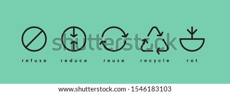 Zero waste. Ecology vector web banner. Reuse Reduce Recycle Rot Refuse. Zero waste. Conscious consumption. Neo mint. #1546183103