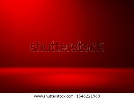 3D Illustration. Festive Red christmas studio gradient background for product placement or website. Copy Space, horizontal composition. Royalty-Free Stock Photo #1546221968