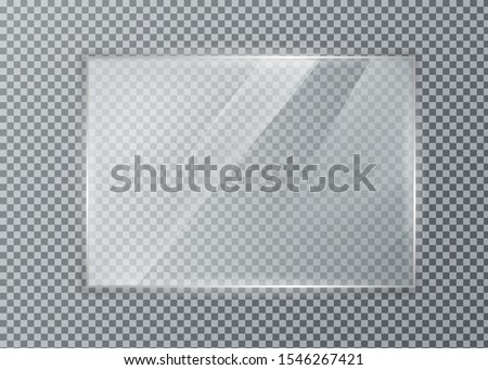 Glass plate on transparent background. Acrylic and glass texture with glares and light. Realistic transparent glass window in rectangle frame.  #1546267421