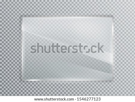 Glass plate on transparent background. Acrylic and glass texture with glares and light. Realistic transparent glass window in rectangle frame.  #1546277123