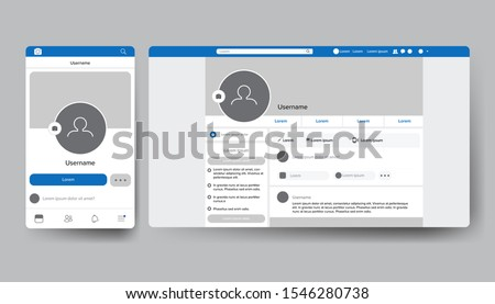 UI layout screen for social media user interface application template vector #1546280738