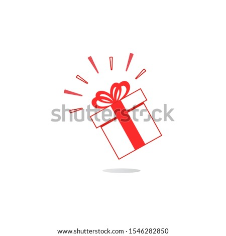 Gift box icon in a linear style with a bow. Festive mood. Vector illustration a flat style. #1546282850