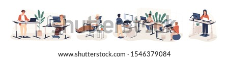 Contemporary workspace flat vector illustrations set. Working office employees sitting and standing behind ergonomic furniture cartoon characters isolated on white background. Coworking openspace area #1546379084