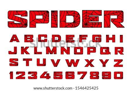 Spider font. Spiderman alphabet. Black letters on Red background.
