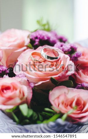 beautiful bouquet, bridal bouquet, flowers of the bride. The bride is waiting for the groom in the white room. #1546547891