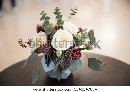 beautiful bouquet, bridal bouquet, flowers of the bride. The bride is waiting for the groom in the white room. #1546547894
