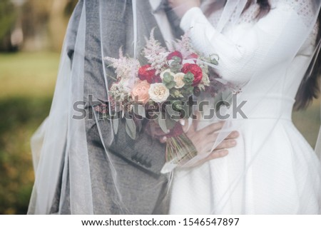 beautiful bouquet, bridal bouquet, flowers of the bride. The bride is waiting for the groom in the white room. #1546547897