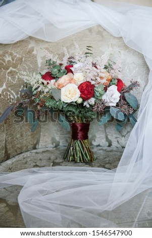 beautiful bouquet, bridal bouquet, flowers of the bride. The bride is waiting for the groom in the white room. #1546547900