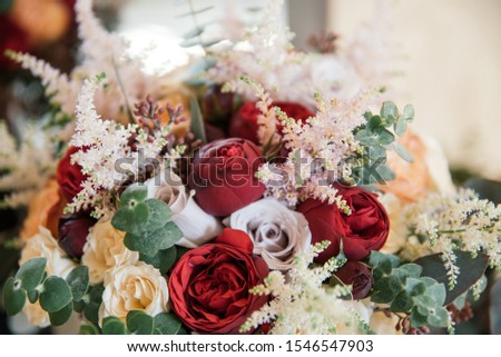 beautiful bouquet, bridal bouquet, flowers of the bride. The bride is waiting for the groom in the white room. #1546547903