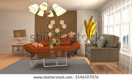 Zero Gravity Sofa hovering in living room. 3D Illustration. #1546597076