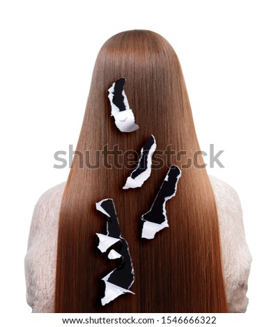 Brunette girl suffers from hair loss, ragged rags, white isolated background. Concept of brittle dry roots and follicles. #1546666322