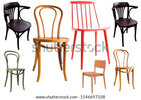Collage of stylish chairs and armchairs on white background #1546697108