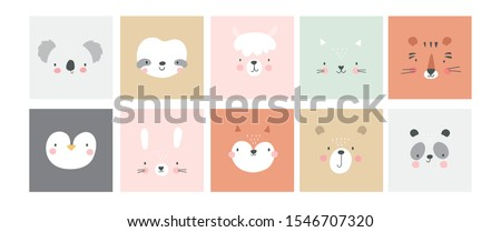Cute simple animal portraits - hare, tiger, bear, sloth, cat, koala, fox, alpaca, panda, penguin. Great for designing baby clothes. Royalty-Free Stock Photo #1546707320