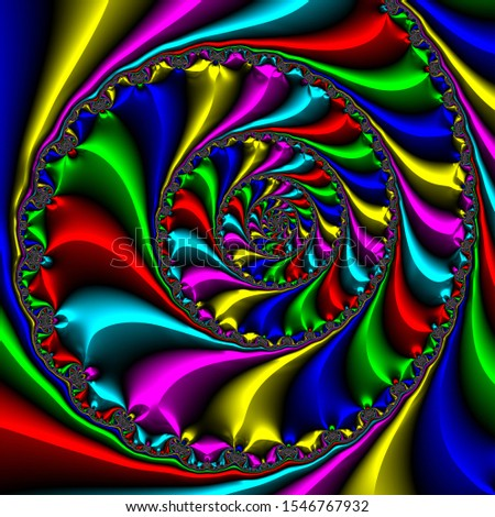 A very colourful spiralling 3D fractal design #1546767932