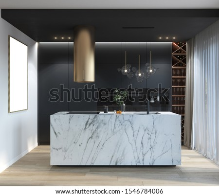 Modern kitchen with graphite facades and marble island, 3d illustration, 3d rendering, 300 dpi