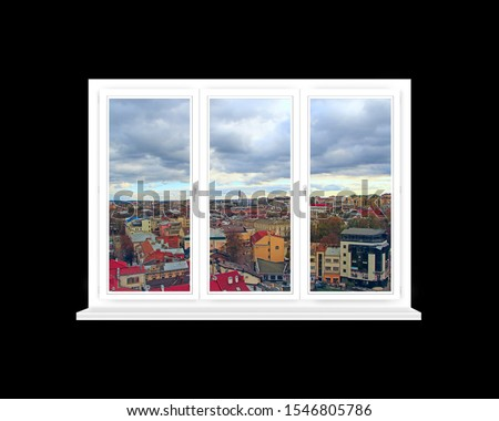 Window in room with view to city. Beautiful cityscape from opened window. City panorama seen from opened window #1546805786
