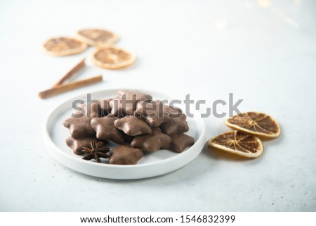 Homemade Christmas cookies covered with chocolate #1546832399