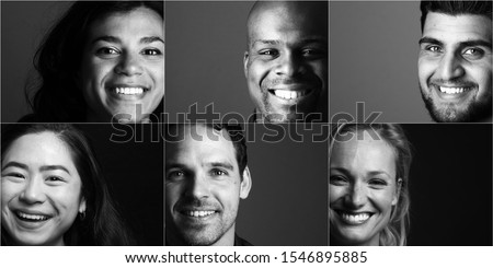 Group of young multicultural people in front of a black background #1546895885