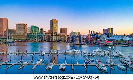 Baltimore, Maryland, USA Inner Harbor Skyline Aerial. Royalty-Free Stock Photo #1546908968