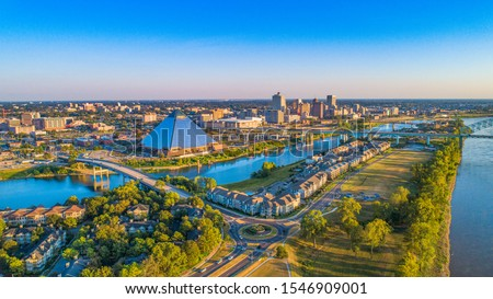 Memphis, Tennessee, USA Downtown Skyline Aerial Panorama.