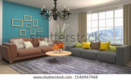 Interior of the living room. 3D illustration. #1546967468