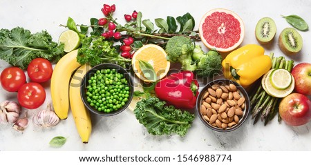 Foods high in vitamin C. Food rish in antioxidant, fiber, carbohydrates. Boost immune system and brain; balances cholesterol; promotes healthy heart.Top view  #1546988774