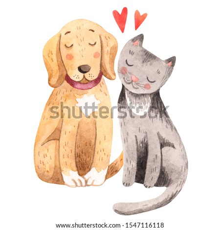 A dog and cat sitting side by side. Pets are the best friends. Watercolor cute illustration. Joyful puppy and kitten.