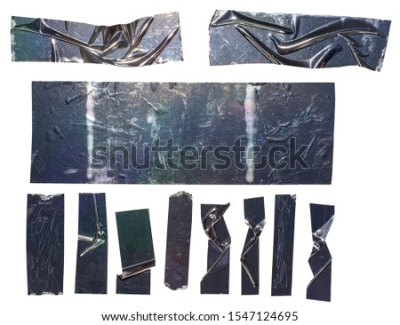 Metallic sticky teared tape shapes cuts isolated on white background. Shiny flexible crumpled glitter holo stickers. Silver shiny metallic stripes, adhesive pieces. Design elements for a poster idea. #1547124695