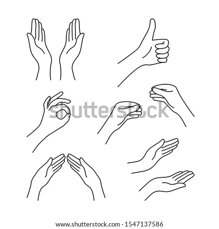 thin line drawing black hands collection. concept of religion symbol, gesturing set, applause, harmony, love, peace or help. linear cartoon style trend logo graphic design isolated on white background