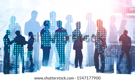 Silhouettes of diverse business people working together and shaking hands in modern city with double exposure of world map. Concept of teamwork and globalization. Toned image #1547177900