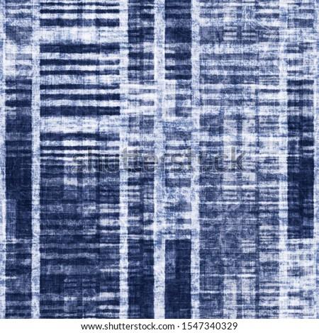Bleached Indigo Effect Distressed Blocks Textured Background. Seamless Pattern.  #1547340329