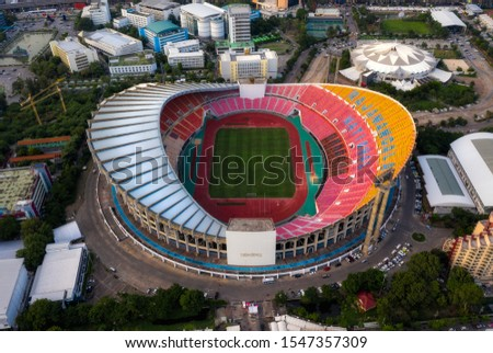 Bangkok, Thailand - October 2019: Aerial view,top view Rajamangala Stadium,Bangkok. #1547357309