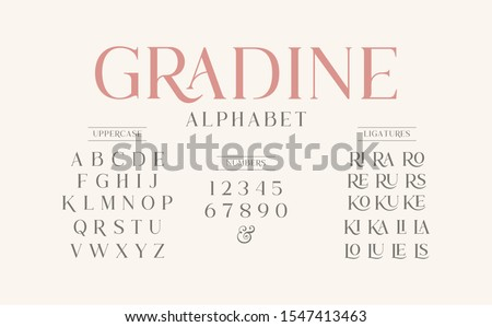 Classic typography elegant. Alphabet and numbering  uppercase. Vector illustration word. Royalty-Free Stock Photo #1547413463