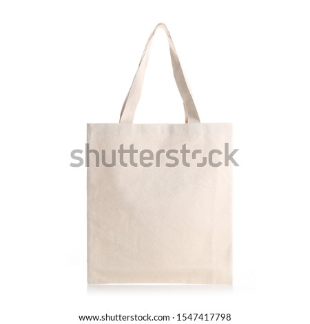 Eco Friendly Beige Colour Fashion Canvas Tote Bag Isolated on White Background. Reusable Bag for Groceries and Shopping. Design Template for Mock-up. Front View #1547417798