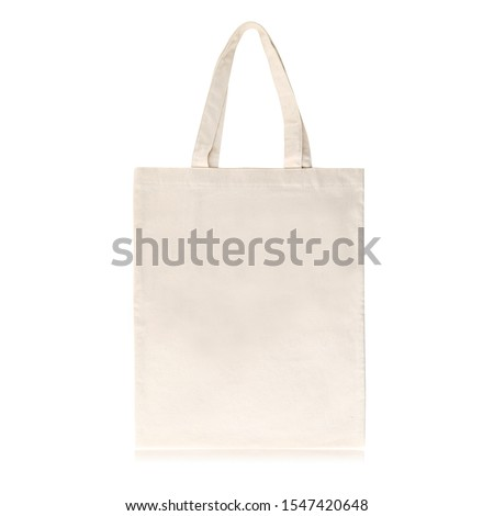 Eco Friendly Beige Colour Large Volume Fashion Canvas Tote Bag Isolated on White Background. Reusable Bag for Groceries and Shopping. Design Template for Mock-up. Front View #1547420648