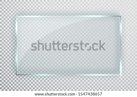 Glass plates set. Glass banners on transparent background. Flat glass. Vector illustration. #1547438657