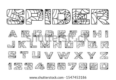 Spider font. Spiderman alphabet. Black letters isolated on white background.