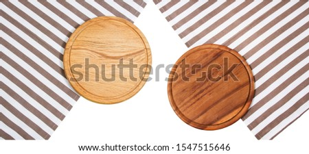 Top view Wooden board mock up isolated, empty pizza board and tablecloth isolated over white. Dark and ligt boards #1547515646