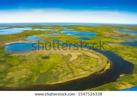 Landscape of the arctic tundra in summer. Rivers, lakes, northern vegetation. View from above. The concept of climate change, warming in the Arctic. #1547526338