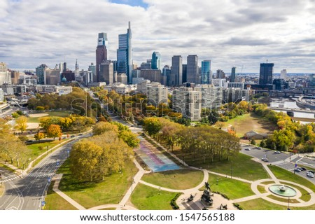 Picture shows a drone view on the Philadelphia Skyline
