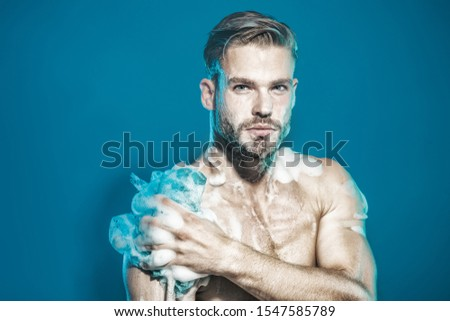 Showering. Bearded man washing in bathroom. Man in shower. Fit man with muscular body taking shower in morning. Sexy guy wash with sponge in bathroom. Naked man taking shower with foam. Relaxing time. #1547585789