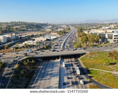 Aerial view of the San Diego freeway, Southern California freeways, USA #1547733260