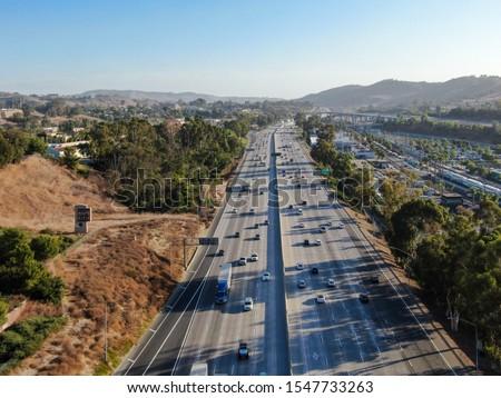 Aerial view of the San Diego freeway, Southern California freeways, USA #1547733263
