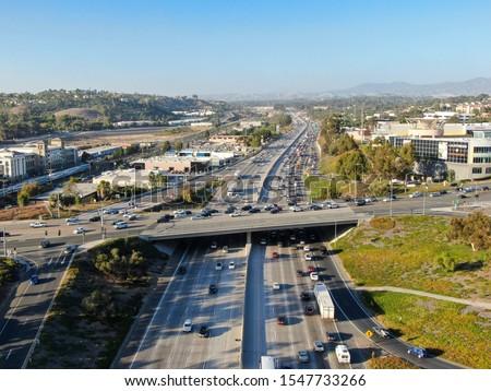 Aerial view of the San Diego freeway, Southern California freeways, USA #1547733266